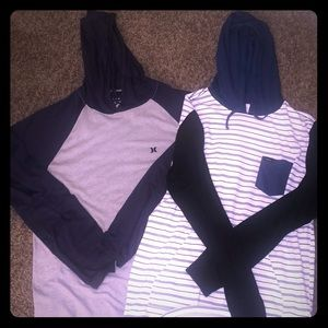 2 lightweight hoodies RVCA and Hurley